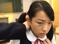 Japanese teen doll finger fucked upskirt in class room