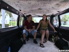 Travis and Tiffany make their first porno on the infamous Bang Bus