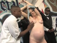 Pregnant blonde in is black gangbang and gets bukkake