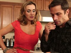 Horny housewife Tanya Tate gets her busty boobs measured by handsome carpenter