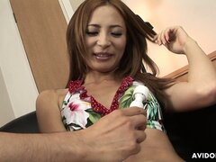 Shiora Ayase gets her hairy Japanese pussy vibrated damn fine