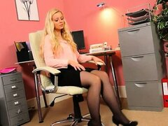 Blonde secretary in lingerie teasing