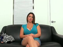 Curvy brunette Tiffany Cross is on the casting couch. she is shy at first but soon strips off to show us her lovely juicy tits and big ass as soon as she sees a hard cock. She sucks on him until he shoots his load all over her face.