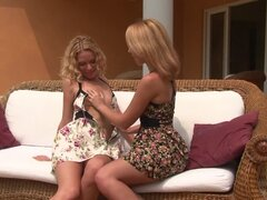 Two young skinny lesbian teen babes caress each other with their fingers