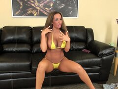 Richelle Ryan's huge fake hooters are a sight to behold on the couch