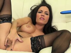 Kirsten Price is using her blue dildo in her pretty pink pussy