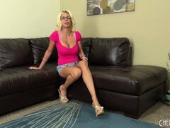 Puma Swede poses on the couch then proceeds to take it all off