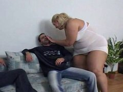 Blonde BBW drilled by 2 cocks