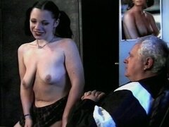 Two horny girls suck this lucky old dude...