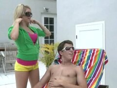 Three Horny Teens Spot A Guy Sunbathing Try His Tool