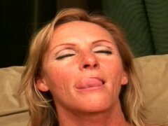 Blonde mature loves cum