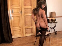 Carmen, a brunette with a perfect ass and nice tits, loves to play with her snatch