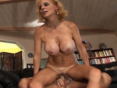 Big busty blonde milf seduces younger boy and fucksq