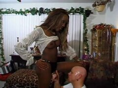 Black shemale gets her big shaft fabulously sucked