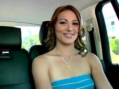 This young chick dreams to be hardcore porn star! After an audition I invited her to show us real action! She agreed, but she doesn't want to wait! She starts to show her pierced pussy right in the car!