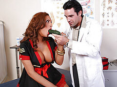 Miss. Fox, a jazz trumpet player, is in to see Dr. Dera because she has been having trouble blowing lately. Dr. Dera runs a series of tests on this sexy fox and concludes she needs a little deep throat treatment to open her airway. Forget those old medica