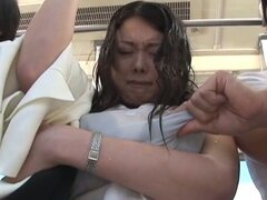 Busty Japanese Slut Sucking Cock and Getting Fucked in a Public Bus