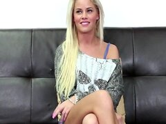 Blonde with a great smile on Casting Couch