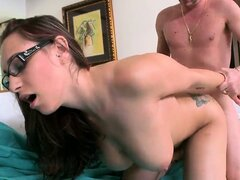 Big tits babe with glasses Jasmin slammed hard in her shaved twat