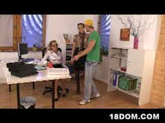 Female domination at office and a threesome