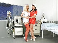 The two sexiest nurses of the hospital have gone to a private room in the ICU for talking about some important patients. Well, not really because since they got tired of fucking around with the same old doctors they decided to get it on with each other. W