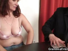 Granny in stockings pumped full