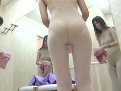 Slim teen dressing in changing room and flashing nude skin