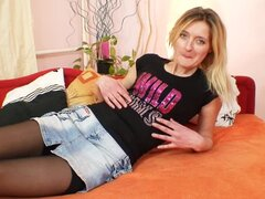 Cute mature in skirt masturbates