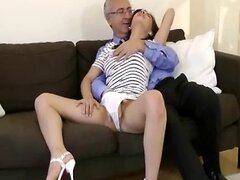 Old senior haves fun with young slut
