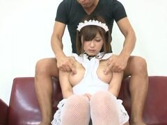 Anri Okita gets her slit stunningly fucked from behind