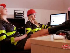 False alarm means these female firefighters have to punish his cock and ass