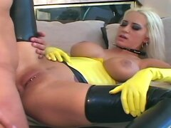 Anal Sex in latex gloves stilettos and stockings
