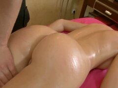 Teen with small tits gets a massage and a mickey
