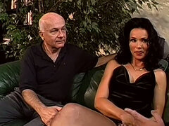 Brunette babe is fucked by tow horny old guys. Cuckold