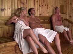 Slender beauties Lina Napoli and Sophie Lynx is fucking in sauna