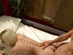 Shemale fucks blonde girl and guy