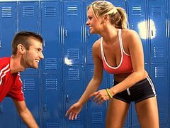 A clever dude offers his hot gym classmate a fight hoping to get her naked