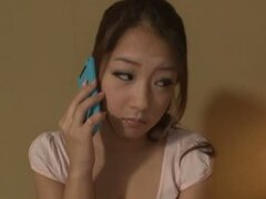 A cute Japanese teen masturbates at home at first...