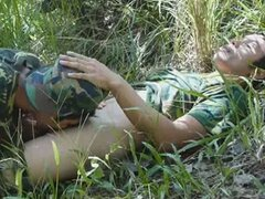 Asian guys in army uniform fucking outdoors
