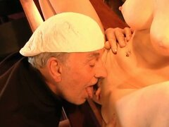 Two old pervs fuck a sexy blonde