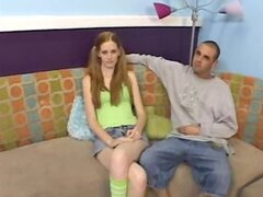 Casting Couch Redhead gets first facial