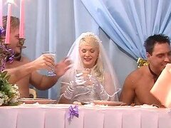Blonde Bride Kathy Anderson Gets Double Penetrated By Groom and Best Man
