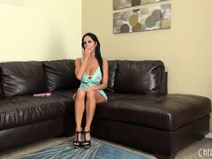 Brunette babe Ava Addams puts on a live show and pops out her hot boobs