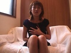 Japanese girl does solo masturbation with panties on