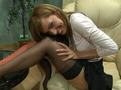 Sexy slut wearing hot panty hoses for solo teasing show