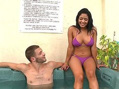 Banging date brings to then hot tub...