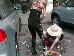 Mess battle in the main square with sizzling hot lesbian milfs