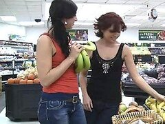 Rita And Her Friend Put Up A Great Lesbian Scene In A Supermarket