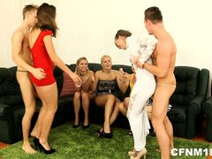 Two horny strippers entertain the naughty brides...
