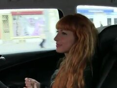 Redhead masturbates and fucks in taxi